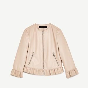 Zara faux leather jacket with frills size M